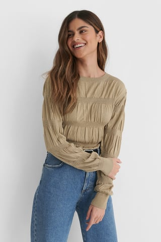 Beige Smocked Knitted Sweater