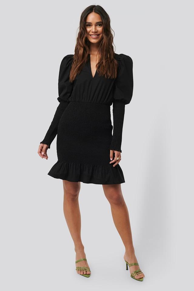 Black Smocked LS Puff Sleeve Dress