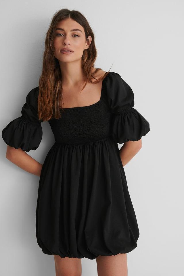 Smocked Mini Dress Black