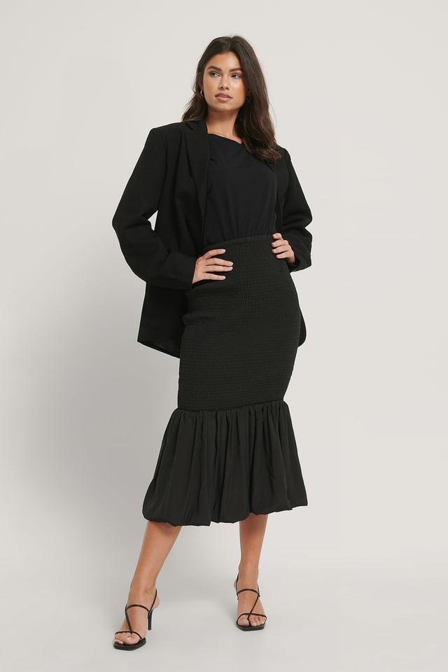 Black Smocked Midi Skirt