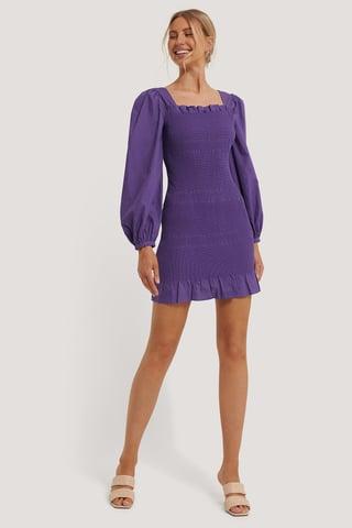 Purple Smocked Mini Dress