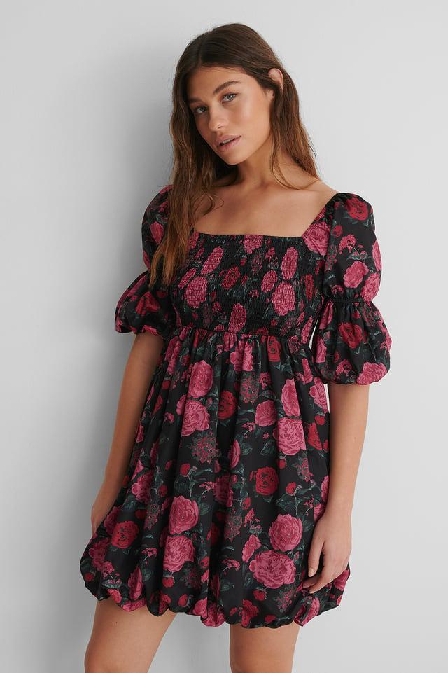 Smocked Mini Dress Flower Print