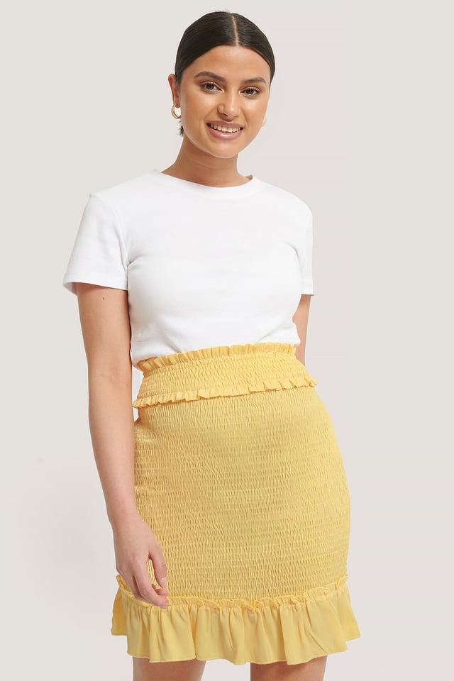 Smocked Mini Skirt Yellow