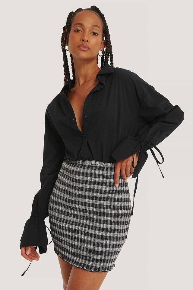 Black/White Smocked Plaid Mini Skirt