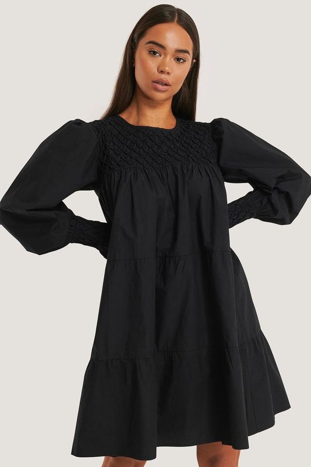 Smocked Poplin Dress Black