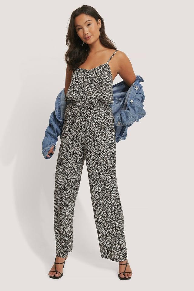 Black Print Smocked Printed Jumpsuit