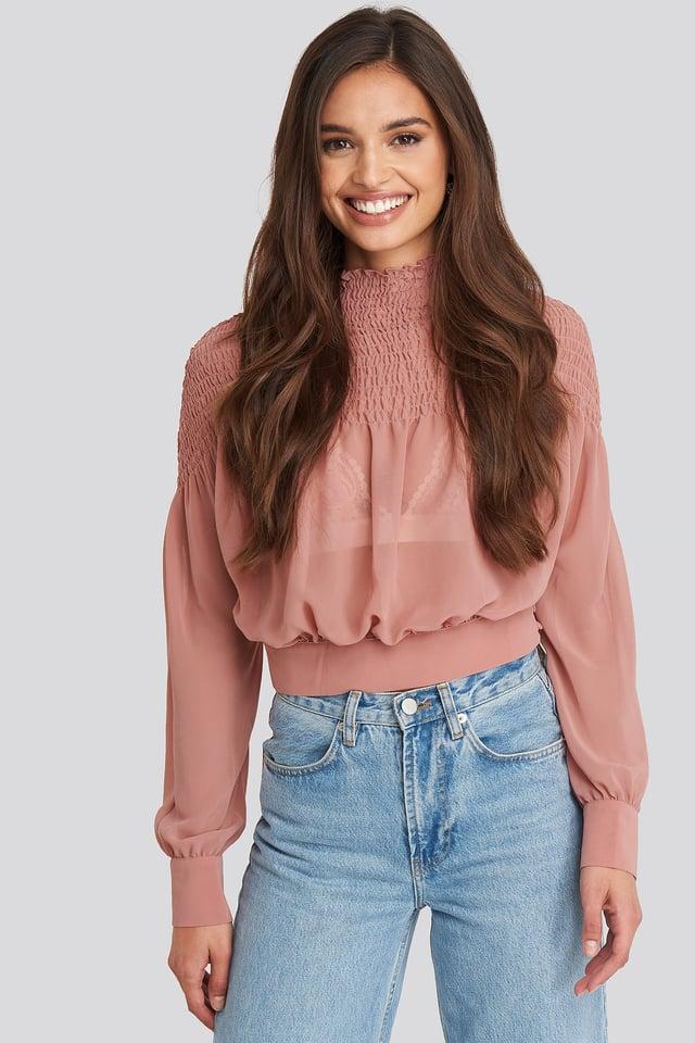 Smocked Shirred Blouse Dark Dusty Pink
