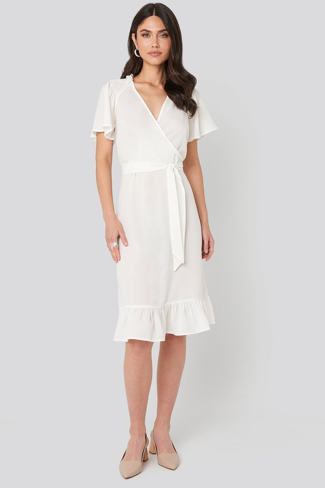 Smocked Shoulder Belted Frill Dress White