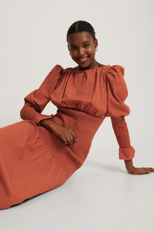 Smocked Sleeve Dress Burnt Red