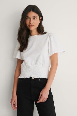 White Smocked T-Skjorte