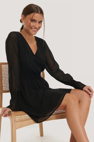Black Smocked V-Neck Mini Dress