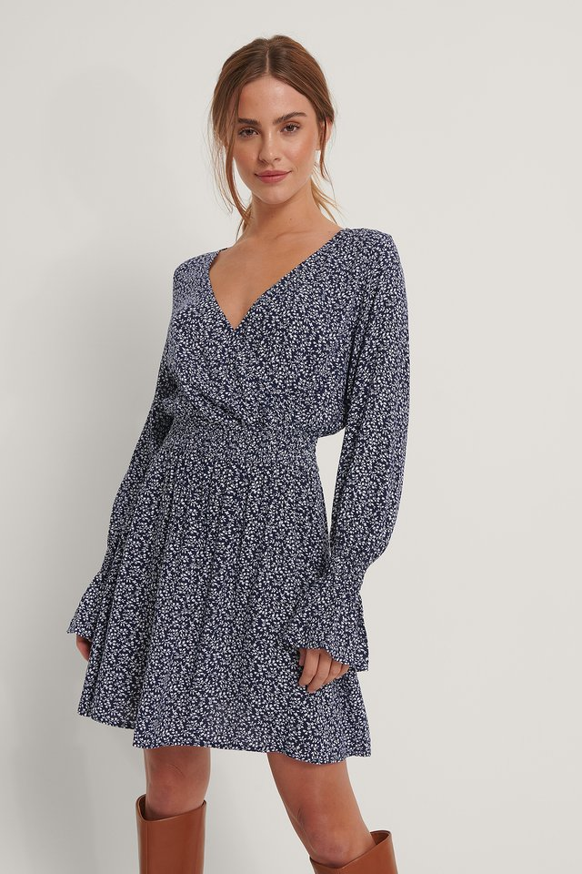 Smocked V neck mini dress Navy Floral