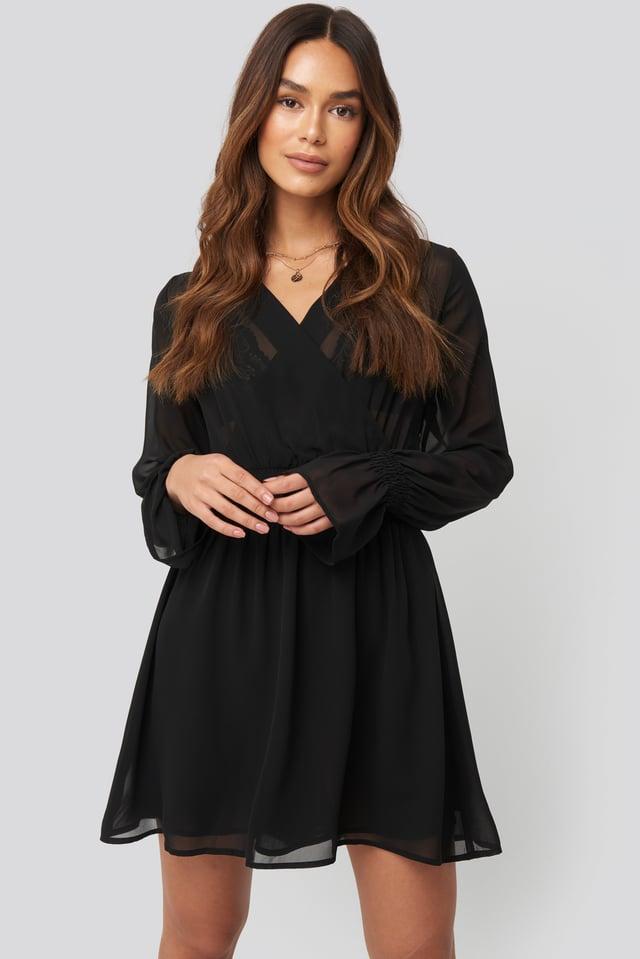 Smocked V-Neck Mini Dress Black