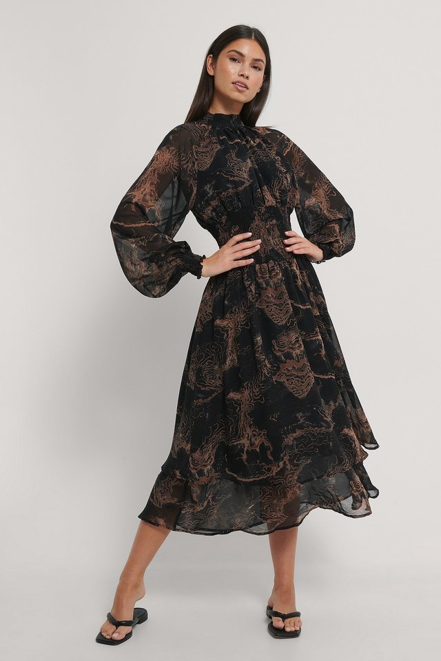 Black Print Smocked Waist Midi Dress