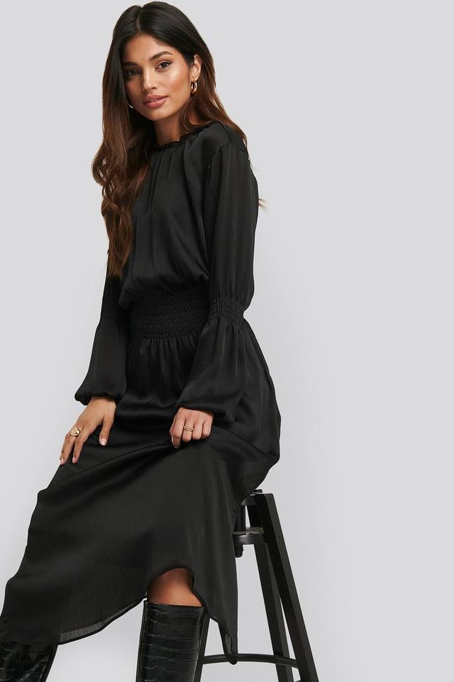 Smocking Detail Satin Midi Dress Black
