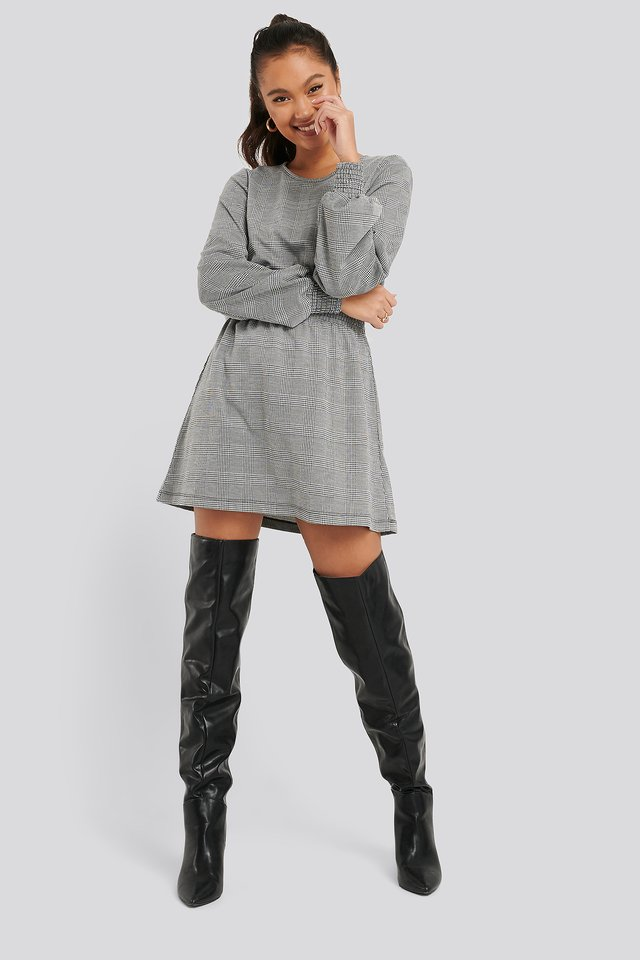 Smocked Waist Check Dress Black/White Check