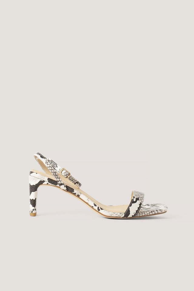 Snake Basic Block Heel Sandals Natural