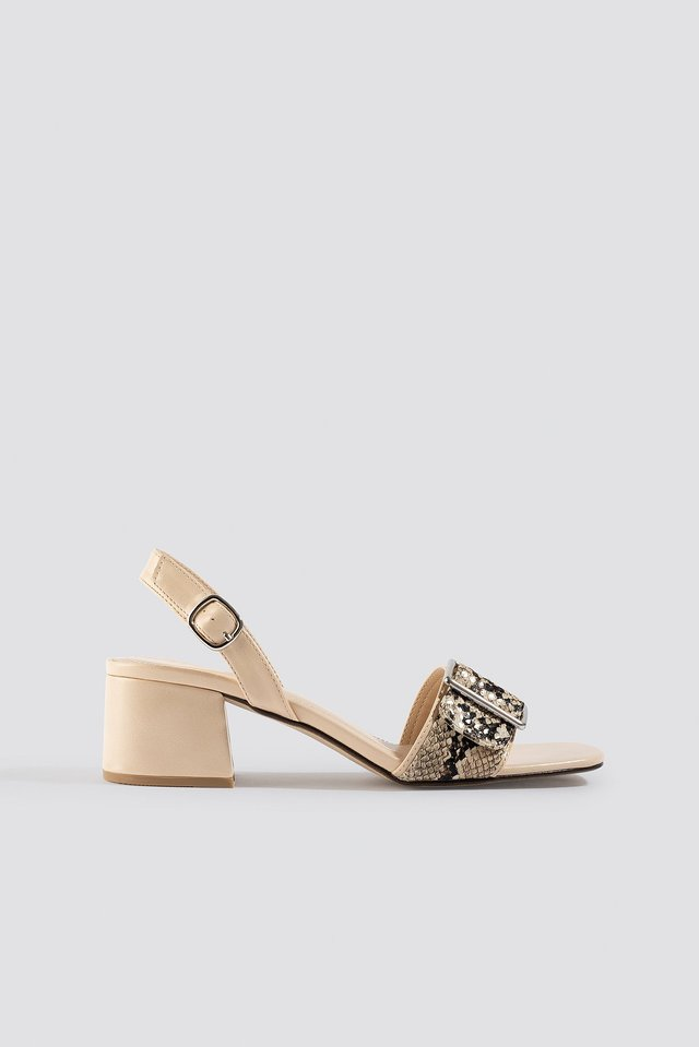 Snake Detail Buckle Sandals Beige