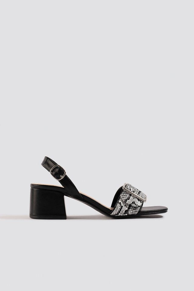Snake Detail Buckle Sandals Black