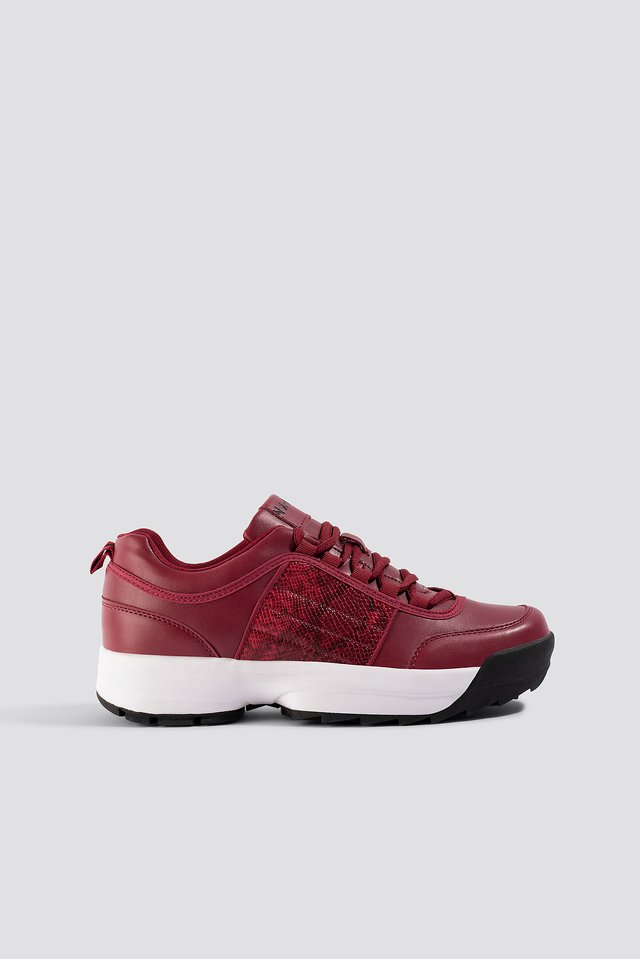 Snake Detail Sneakers Wine Red