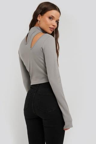 Grey Cut Detail High Neck Top