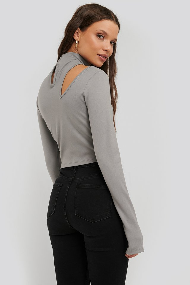 Cut Detail High Neck Top Grey
