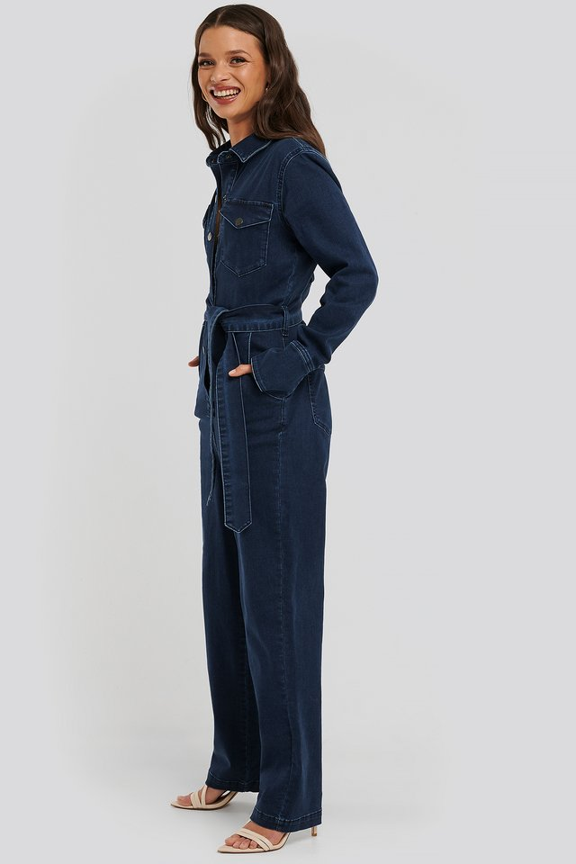 Dark Blue Front Pocket Denim Jumpsuit