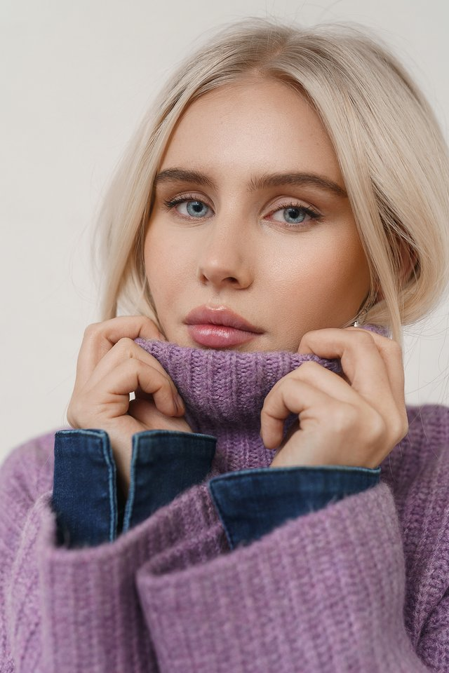 High Neck Knitted Sweater Purple