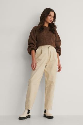 Light Sand Soft Cotton Coccoon Pants