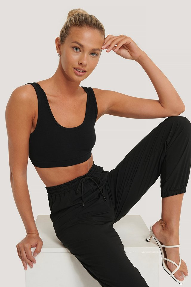 Black Soft Crop Top