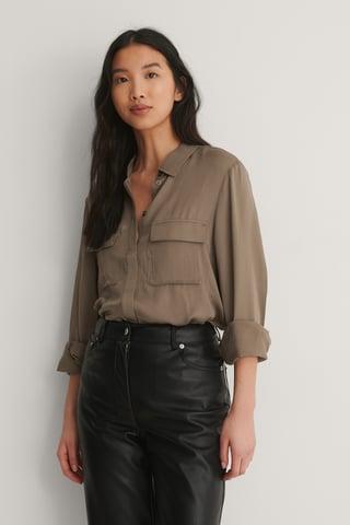Taupe Soft Double Pocket Shirt