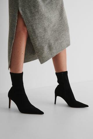 Black Spitze Stiefel Mit Hohem Absatz