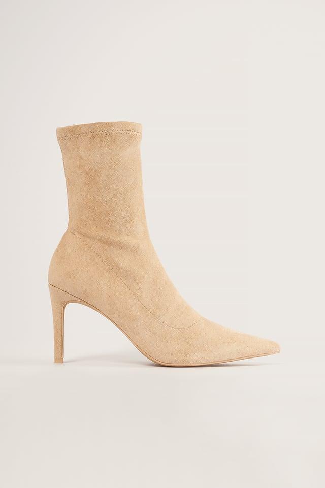 Beige Soft Pointy Stiletto Boots
