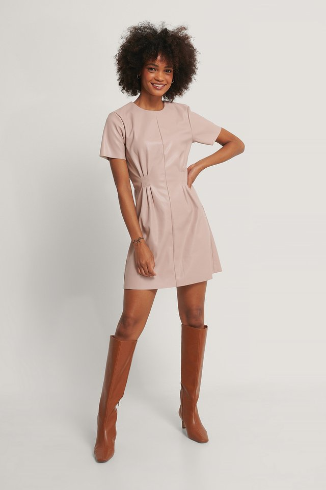 Dusty Pink Soft Pu Marked Waist Dress