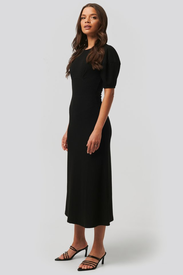 Soft Rib Midi Dress Black