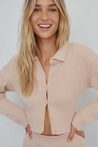 Pink Soft Ribbed Cardigan