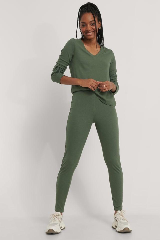 Dark Green Zachte Geribde Legging Met Hoge Taille