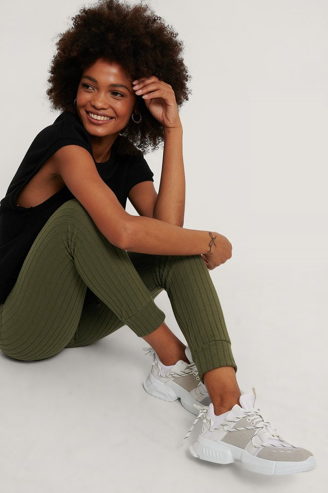 Khaki Recycled Soft Ribbed Highwaist Tights