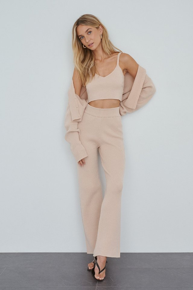 Soft Ribbed Pants Pink