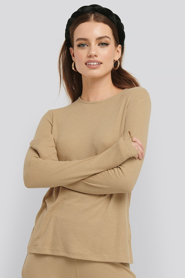 Soft Ribbed Roundneck Long Sleeve Beige