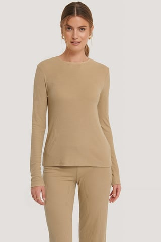 Beige Soft Ribbed Roundneck Long Sleeve