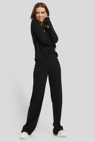 Black Soft Ribbed Wide Basic Pants