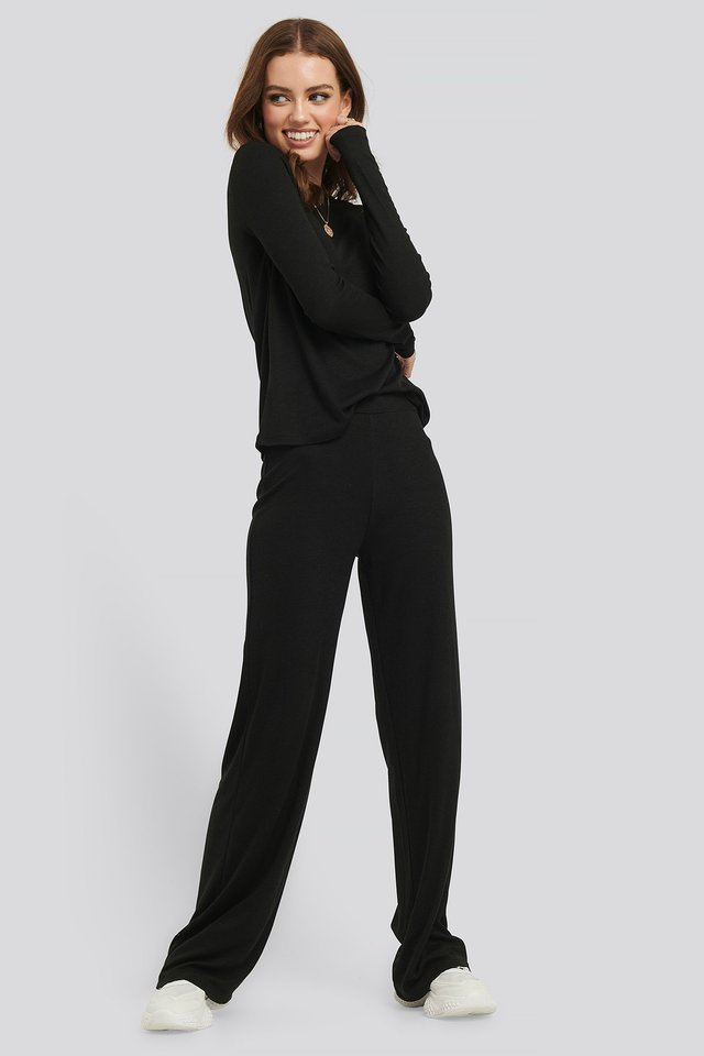 Soft Ribbed Wide Basic Pants Black