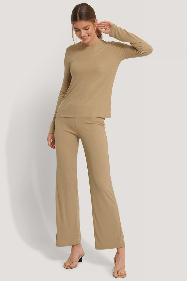 Beige Soft Ribbed Wide Basic Pants