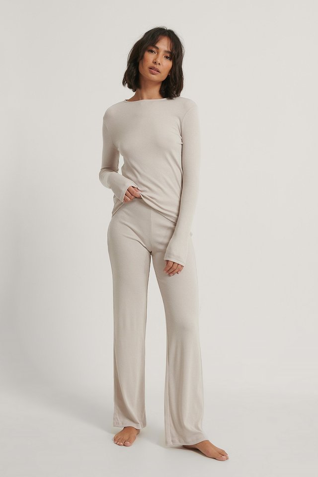 Dusty Light Beige Soft Ribbed Wide Basic Pants