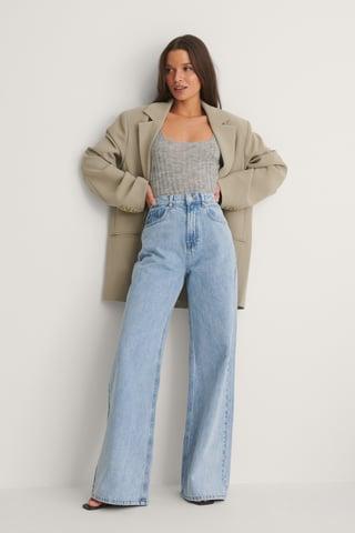 Light Blue Økologiske Vide Jeans