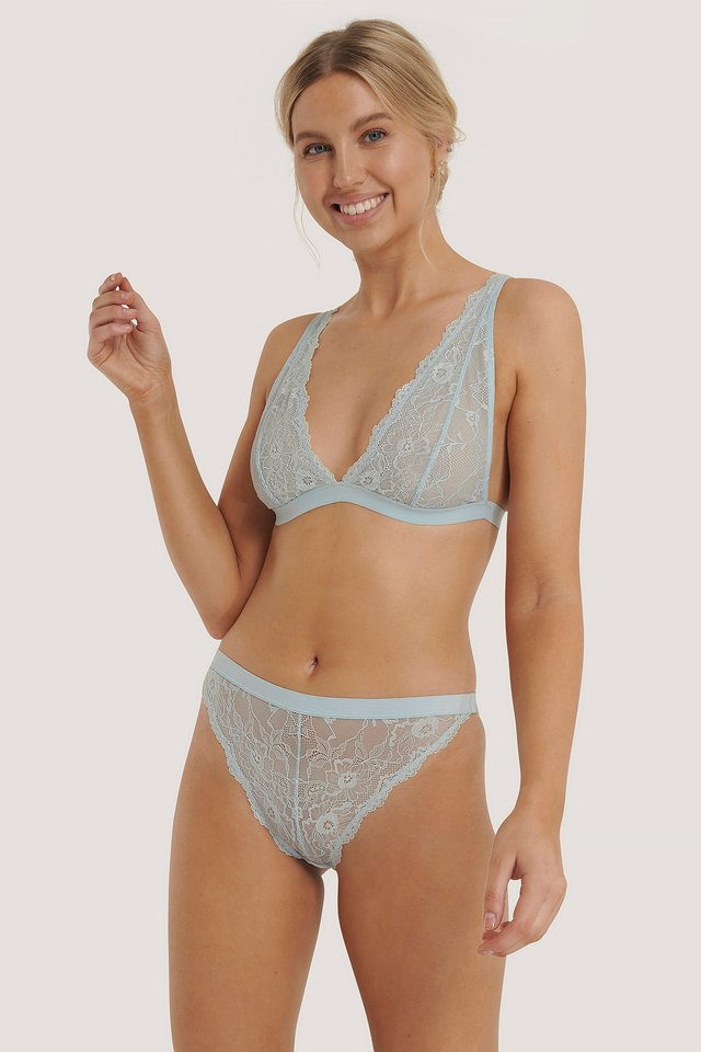 Light Blue Soft Wavy Blossom High Waist Panty