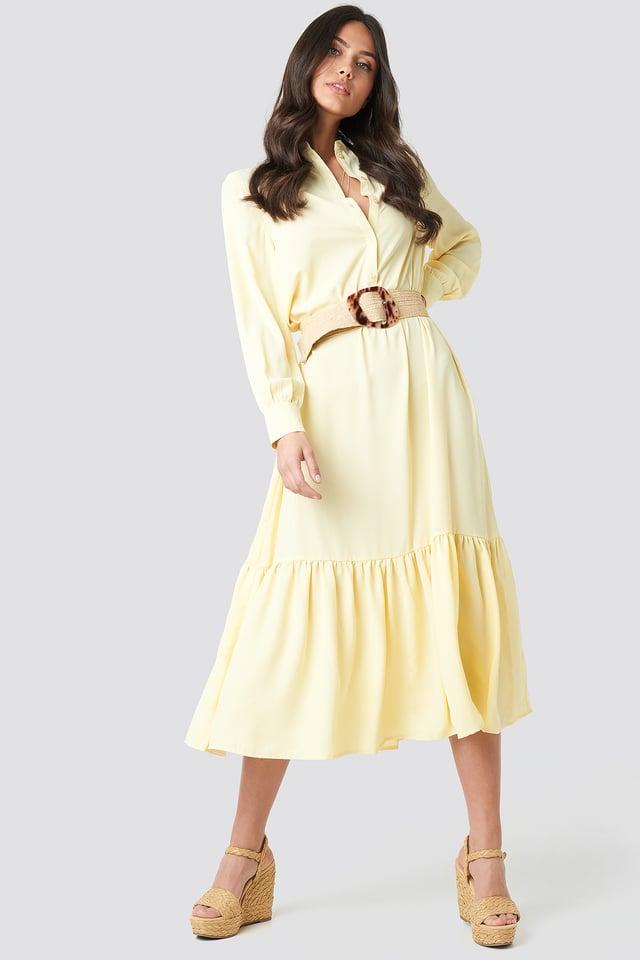 Light Yellow Solid Maxi Dress