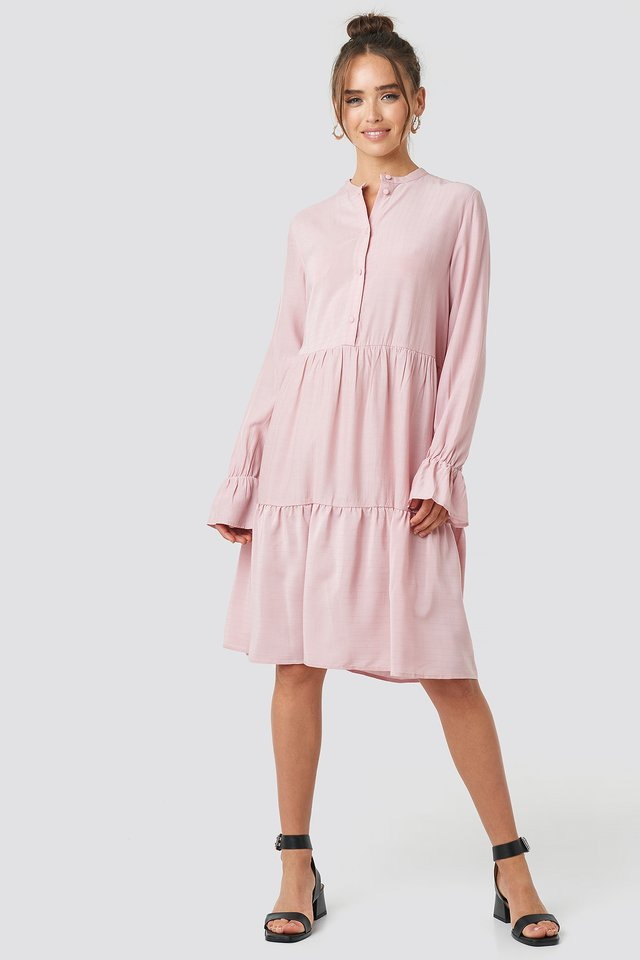 Solid Shirt Dress Dusty Pink