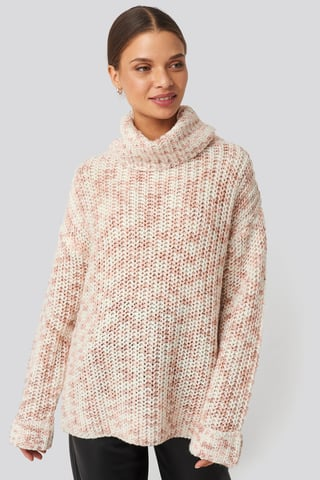White/Dusty Pink Space Dyed Pullover